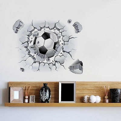 Football Soccer 3D Wall Art Vinyl Decal Sticker Mural Modern Living For Current Football 3D Wall Art (View 12 of 15)