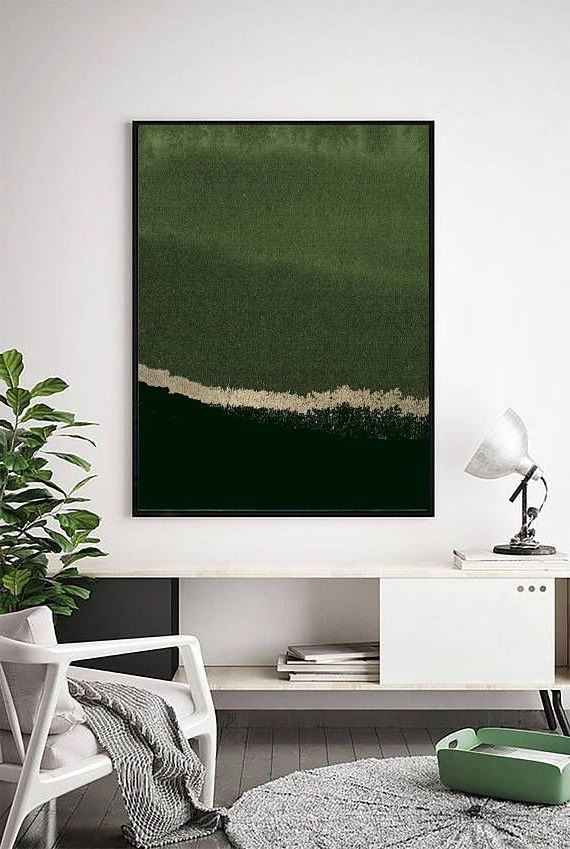 Forest Green Print, Abstract Print, Sage Green Art, Gold, Modern Art For Most Up To Date Olive Green Abstract Wall Art (View 10 of 15)