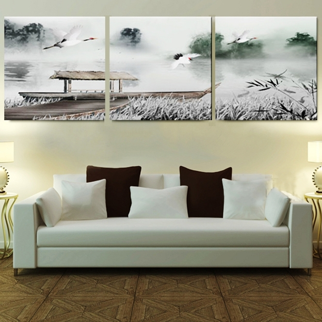 Framed 3 Panel Large 3 Part Wall Art Chinese Bedroom Sets Black And Throughout 2017 Bedroom Framed Wall Art (View 10 of 15)