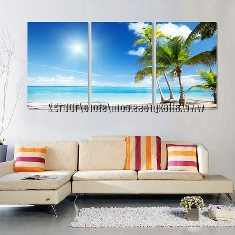 Framed 3 Panel Large Beach Canvas Seascapes Palm Tree Paintings 3 Within Trendy 3 Piece Beach Wall Art (View 8 of 15)