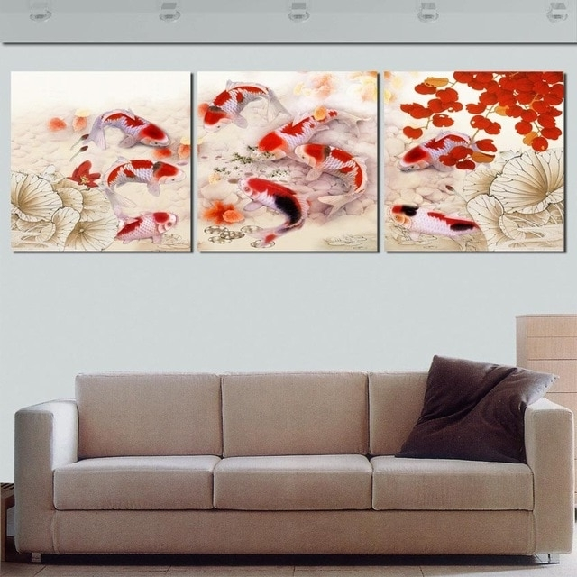Framed 3 Panel Large Koi Fish Feng Shui Chinese Oil Painting On Within Preferred Feng Shui Wall Art (View 14 of 15)