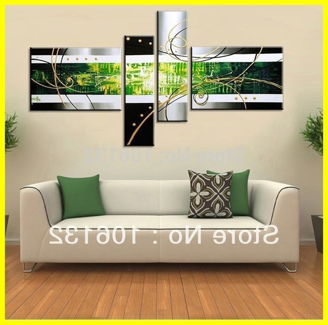 Framed 4 Panel Large Canvas Art Black White And Green Oil Set With Regard To Recent Large Green Wall Art (View 12 of 15)