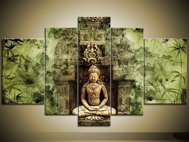 Framed 5 Panel Large Buddha Wall Art Feng Shui Oil Painting On In Most Recent Large Buddha Wall Art (View 5 of 15)