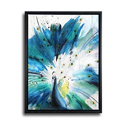 Framed Abstract Wall Art Within Widely Used Amazon: Framed Abstract Canvas Prints Wall Art Teal Animal (View 8 of 15)