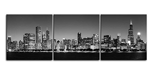 Framed Black & White Chicago Skyline Cityscape Canvas Prints Wall In Well Known Cityscape Canvas Wall Art (View 10 of 15)