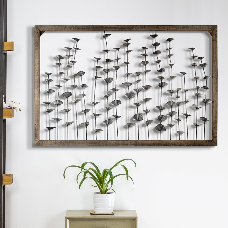 Framed Metal Flower Leaves Sculpture Wall Art Farmhouse Wall Décor Pertaining To Preferred Farmhouse Wall Art (View 7 of 15)