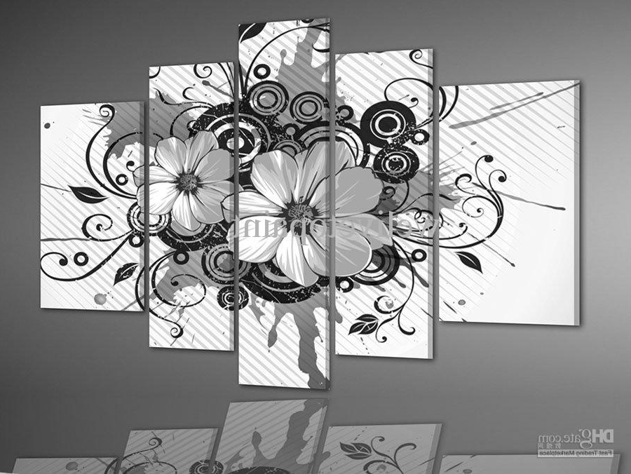 Framed Panels High End Black And White Wall Decor Flower Oil In Art Inside Most Popular Cheap Black And White Wall Art (View 4 of 15)