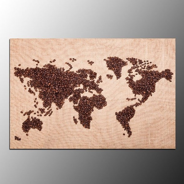 Framed World Map Wall Art Throughout Most Recent Framed Living Room Canvas Prints Coffee Bean World Map Wall Art (View 7 of 15)