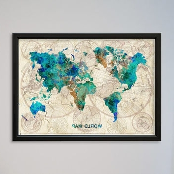 Framed World Map Wall Art Within Famous Wall Art Designs (View 12 of 15)