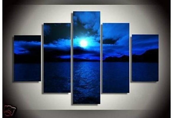 Frameless Landscape Pictures 5 Panels Dark Blue Ocean White Sun With Recent Dark Blue Abstract Wall Art (View 10 of 15)