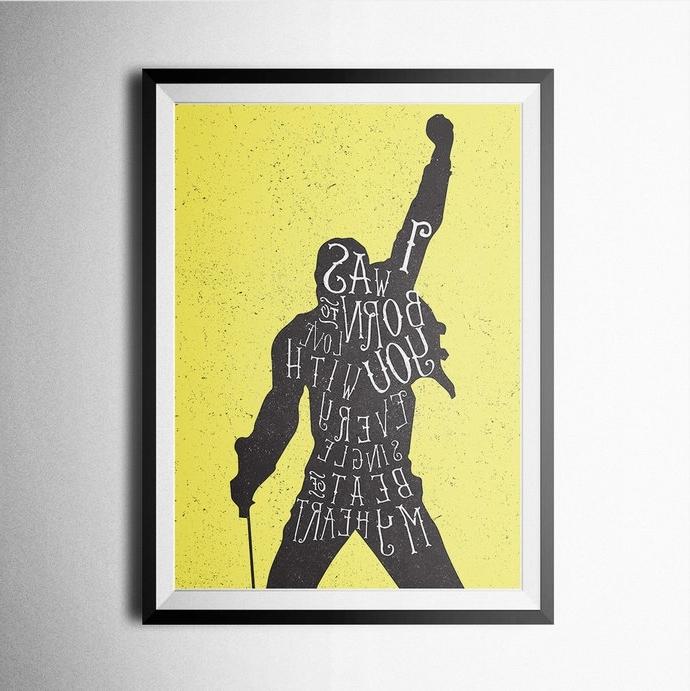 Freddie Mercury Wall Art Pertaining To Favorite Freddie Mercury Print, Poster, Wall Art,northshire On Zibbet (View 2 of 15)