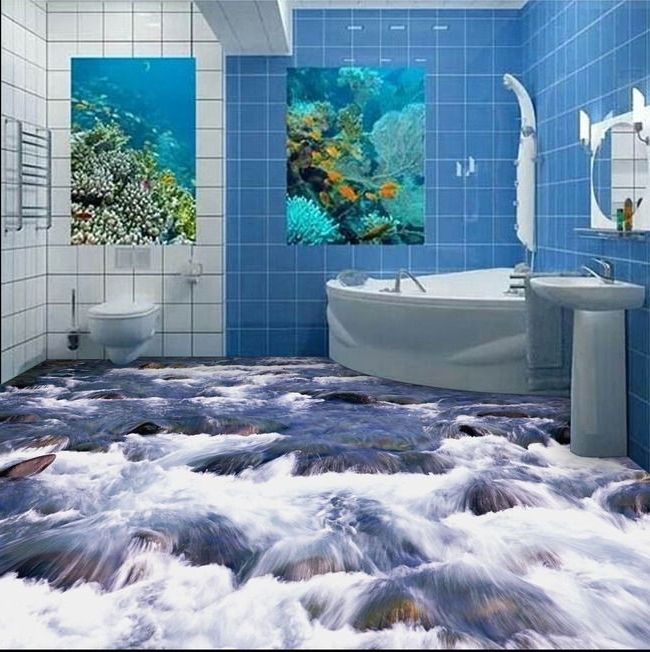 Free Shipping 3D Bathroom Wall Floor Self Adhesive Wall Stickers 3D With Most Current 3D Wall Art For Bathroom (View 3 of 15)