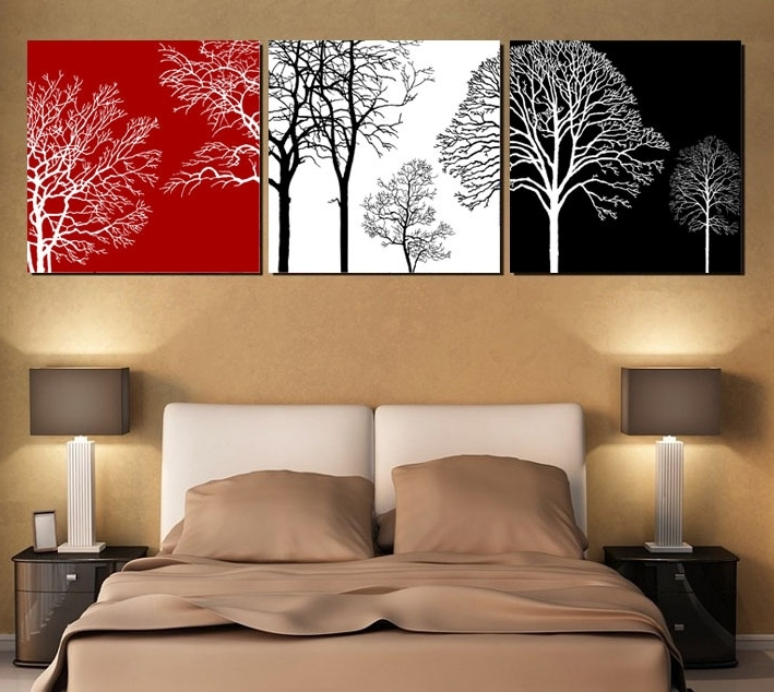 Free Shipping Black White And Red Tree Modern Wall Art Oil Painting Within Popular Black White And Red Wall Art (View 14 of 15)