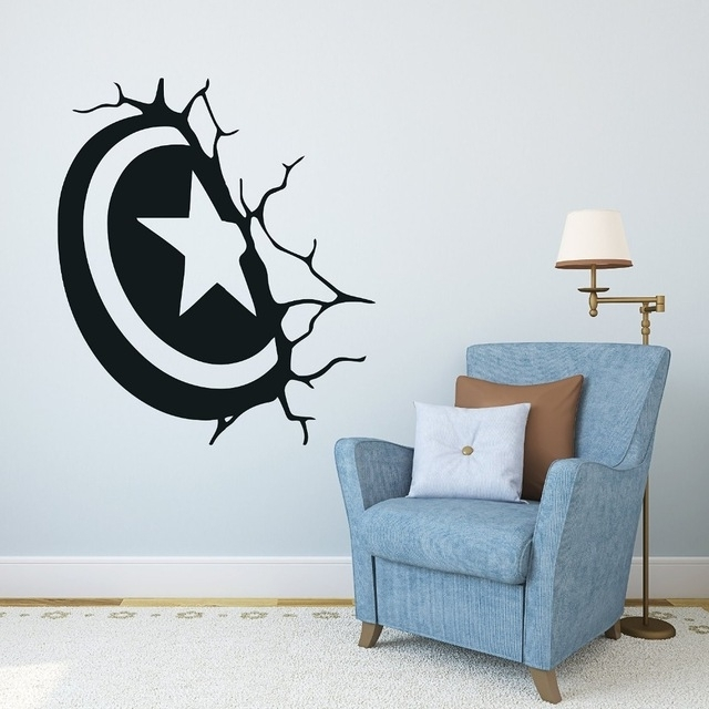 Free Shipping Captain America Shield Wall Decal Superhero Sticker Intended For Preferred Captain America 3D Wall Art (View 8 of 15)