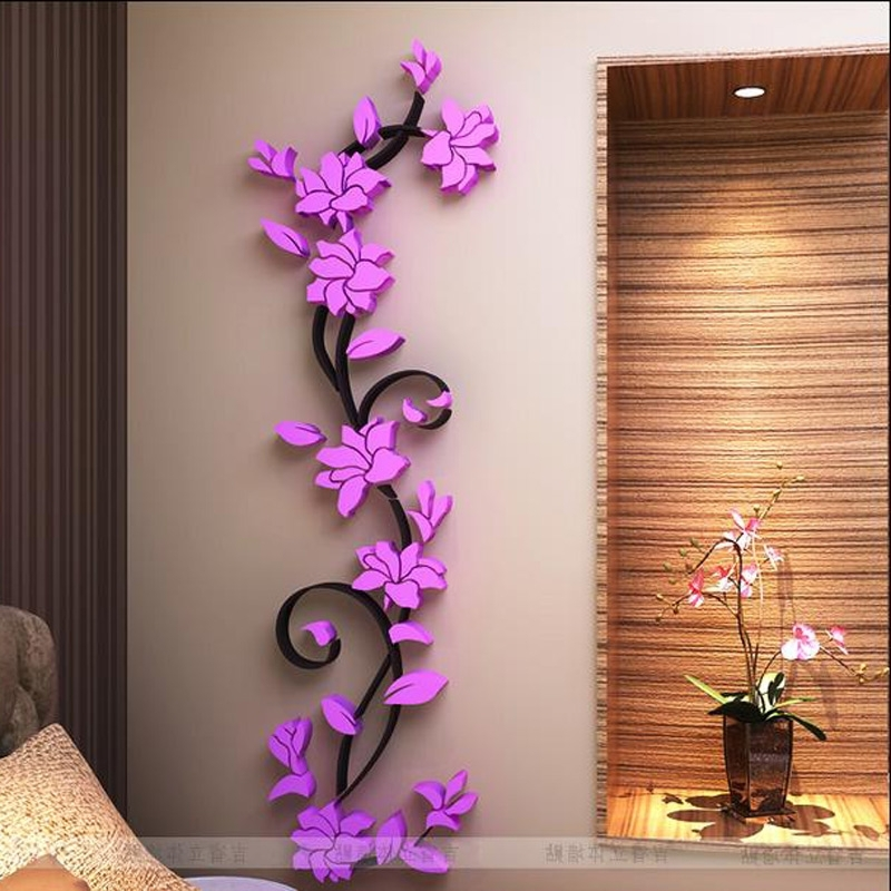 Free Shipping Flower Hot Sale Wall Stickers Home Decor 3D Wall For Most Recently Released Bedroom 3D Wall Art (View 14 of 15)