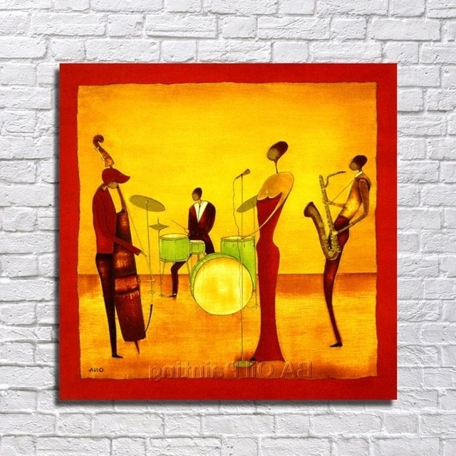 Free Shipping Handpainted Abstract Jazz Band Oil Painting On Canvas For Famous Abstract Jazz Band Wall Art (View 8 of 15)