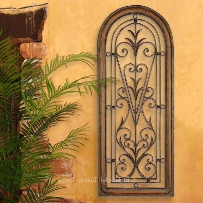 French Tuscan Italian Arched Window Mediterranean Wall Grille Panel With Latest Italian Metal Wall Art (View 2 of 15)