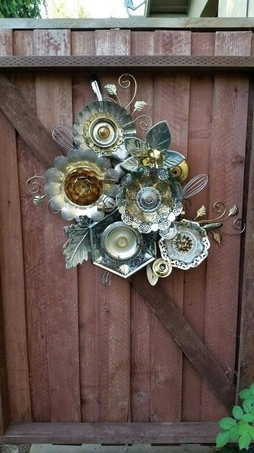 Funky Metal Wall Art In Well Liked Funky Junky Fence Garden Art Made From Old Metal Serving Dishes And (View 2 of 15)