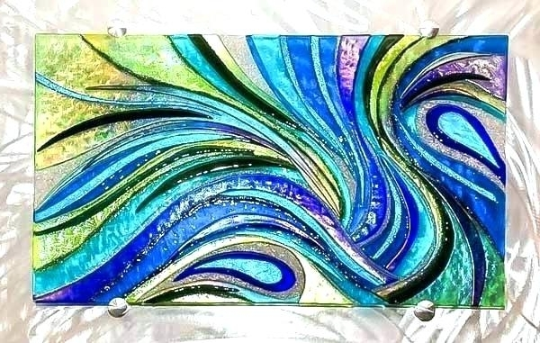 Fused Glass Wall Art Purple Glass Wall Art Handmade Glass Wall Panel With Widely Used Fused Glass Wall Art Panels (View 12 of 15)