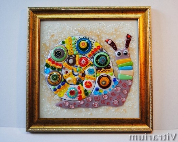 Fused Glass Wall Art Snail Wall Decor Abstract (View 8 of 15)
