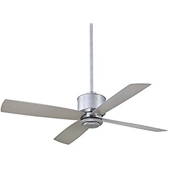 """Galvanized Outdoor Ceiling Fans throughout Most Popular Minka Aire F734-Gl Strata - 52"""" Outdoor Ceiling Fan With Light Kit"""