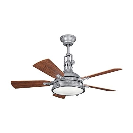Galvanized Steel 44In. Outdoor Ceiling Fan With 5 Blades And Fresnel in Well known Outdoor Ceiling Fans With Galvanized Blades