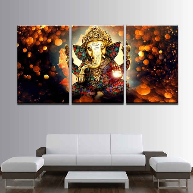 Ganesh Wall Art Intended For Most Recent Modular Picture Framework 3 Panel Elephant Poster Print Canvas (View 10 of 15)