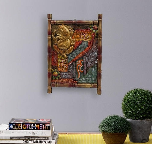 Ganesh Wall Art intended for Recent Wooden Antique Ganesha 3D Wall Art Framed Painting, Lakdi Par