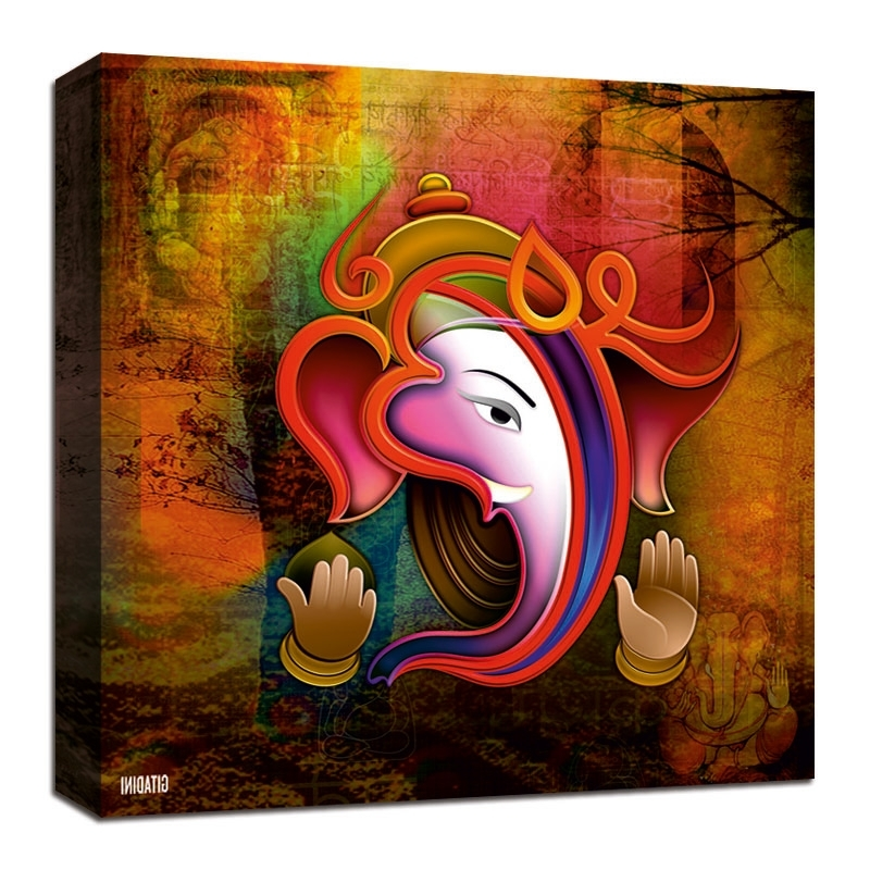 Ganesh Wall Art Intended For Widely Used Canvas Wall Art – Ganesh Collage – Gitadini (View 8 of 15)