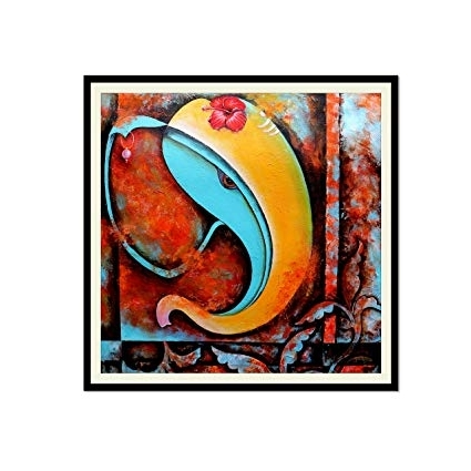 Ganesha Painting Frame With Glass Modern Abstract Textured Canvas Pertaining To Most Current Abstract Ganesha Wall Art (View 3 of 15)