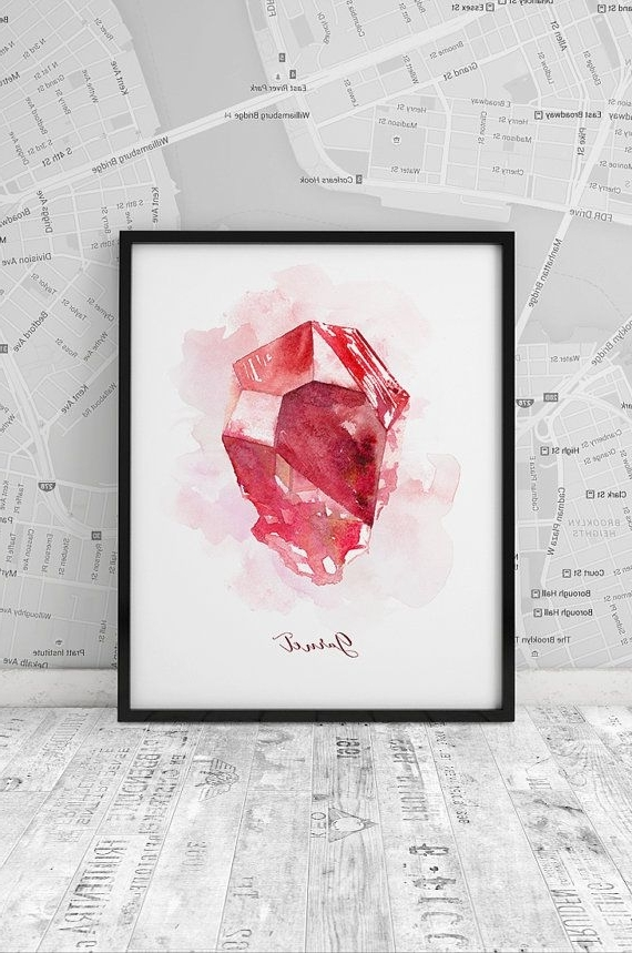 Garnet Print, January Birthstone, Wall Art, Poster, Watercolor Inside Famous Gemstone Wall Art (View 4 of 15)