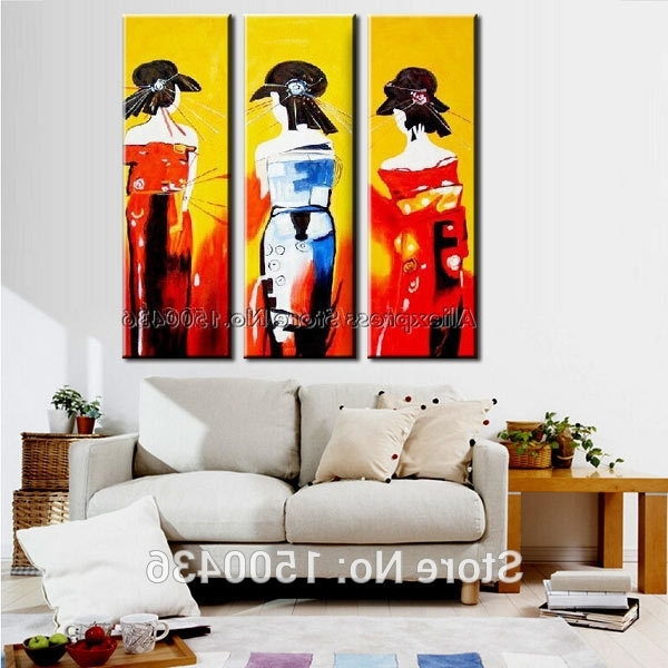 Geisha Canvas Wall Art For Popular Hand Painted Abstract Japanese Geisha Canvas Painting Women Oil (Gallery 2 of 15)