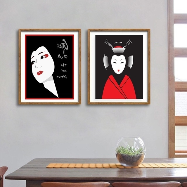 Geisha Canvas Wall Art Intended For Current Japanese Geisha Canvas Art Print And Poster Japanese Art Expert (Gallery 12 of 15)