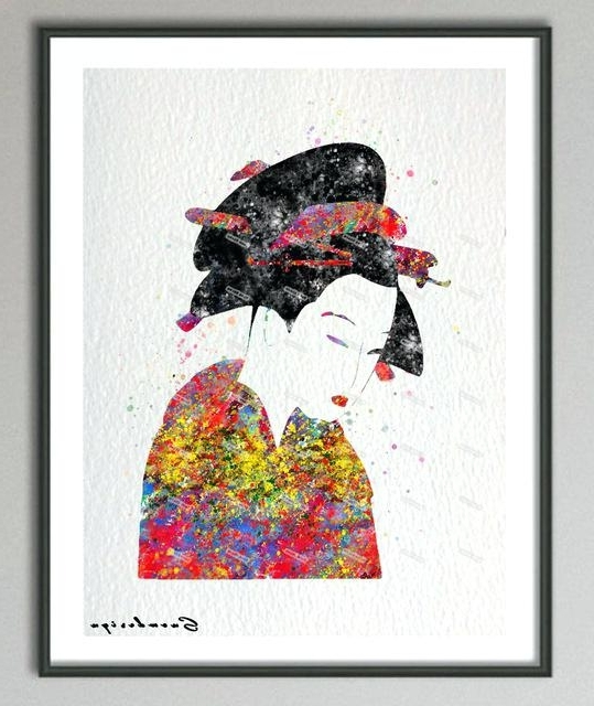 Geisha Canvas Wall Art Original Watercolor Geisha Modern Wall Art Intended For Famous Geisha Canvas Wall Art (Gallery 11 of 15)