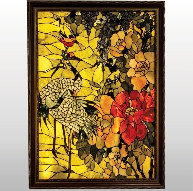 Gemstone Wall Art In 2017 Twin Cranes And A Humming Bird Framed Backlit Gemstone Art Nouveau (View 6 of 15)