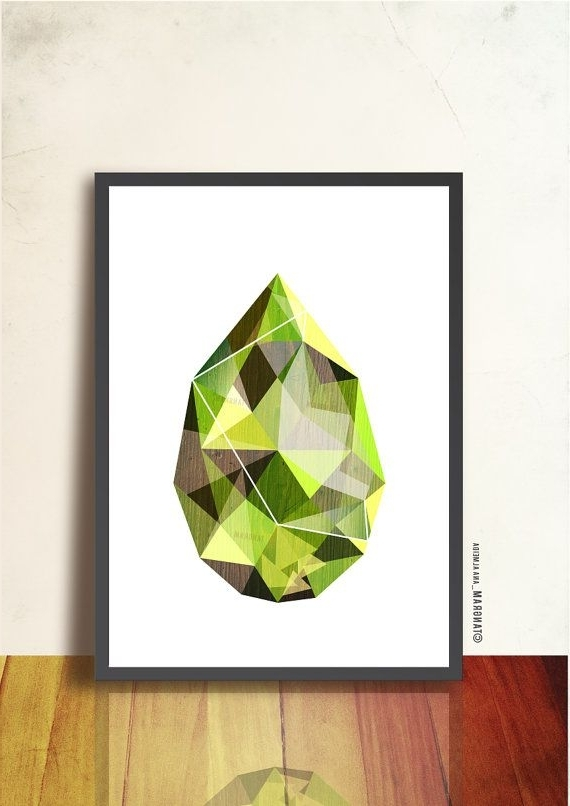 Gemstone Wall Art Regarding Trendy Emerald Poster. Green Gemstone Art. Geometric Print. Abstract Wall (Gallery 9 of 15)