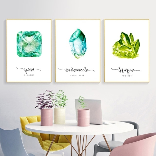 Gemstone Wall Art With Well Known Modern Canvas Painting Birthstone Poster Emerald Gemstone Picture (View 10 of 15)