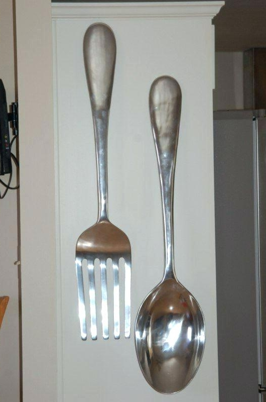 Giant Fork And Spoon Wall Art For Recent Large Fork And Spoon Decor Fork And Spoon Wall Decor Big Large Large (View 13 of 15)