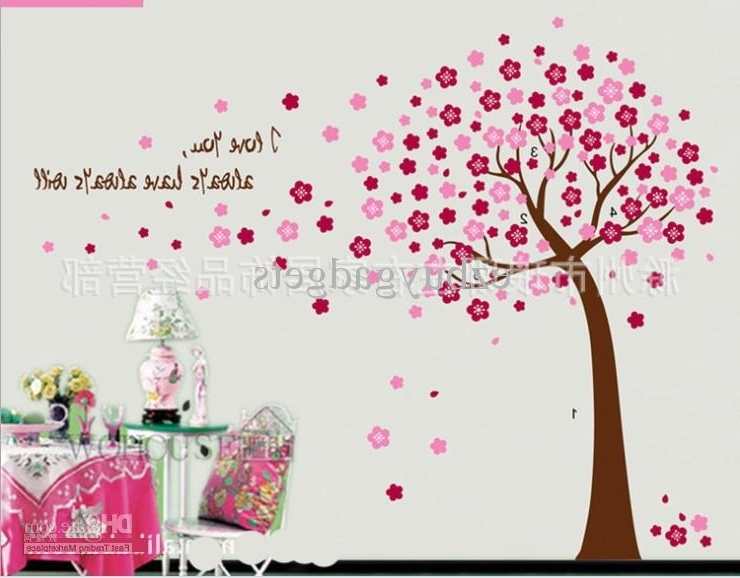 Giant Pink Cherry Blossom Flowers Tree Wall Art Decals Baby Girls Within Most Popular Wall Art For Girls (View 3 of 15)