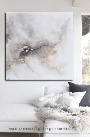 Giclee Print Art Abstract Grey White Painting Coastal Canvas Prints Inside Well Liked Neutral Wall Art (View 4 of 15)