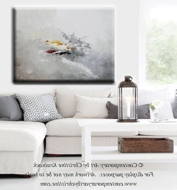 Giclee Print Grey Gold Abstract Painting Modern Coastal Wall Art With Regard To Best And Newest Grey Abstract Canvas Wall Art (Gallery 3 of 15)