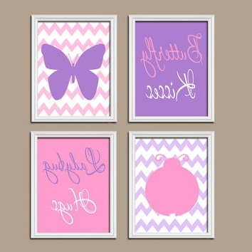 Girls Canvas Wall Art Intended For Well Known Butterfly Lady Bug Wall Art Canvas Or From Trm Design (View 10 of 15)