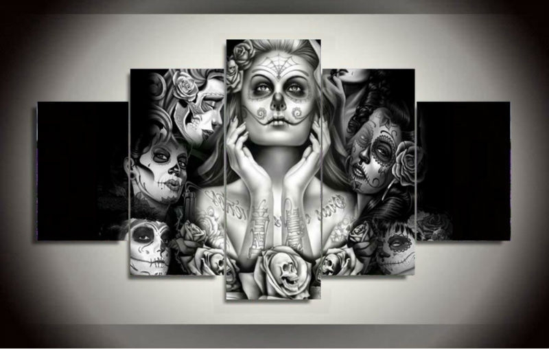 Girls Canvas Wall Art Regarding 2018 5 Panels Canvas Prints Framed Printed Sugar Skull Girl Canvas (View 12 of 15)