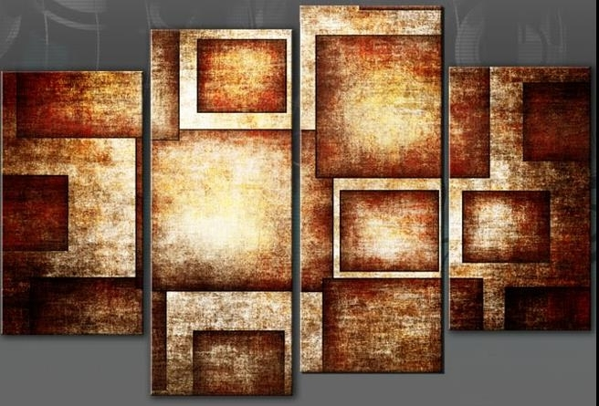 Golden Brown Geometric Bold Canvas Wall Art Picture Abstract 4 Panel In Recent Abstract Wall Art Canvas (Gallery 5 of 15)