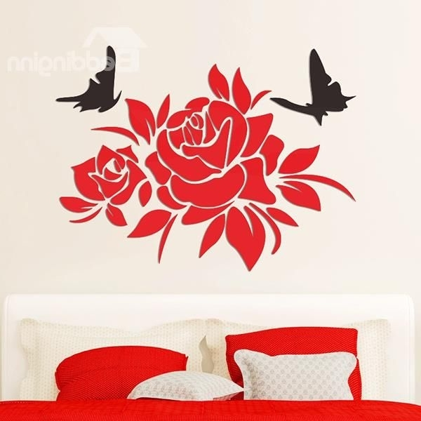 Gorgeous Flowers And Butterfly Acrylic Removable 3D Wall Sticker Intended For 2018 3D Removable Butterfly Wall Art Stickers (View 11 of 15)