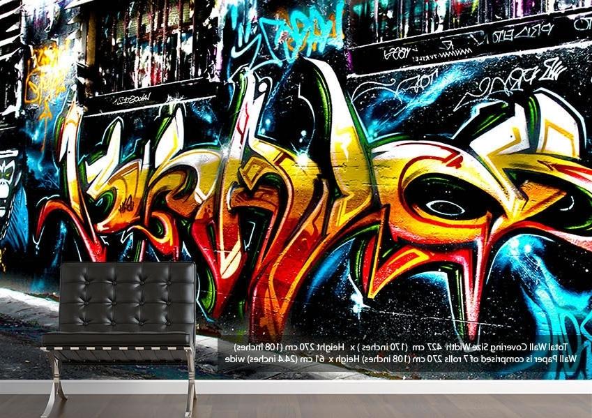 Graffiti Abstract Art Urban Wallpaper Printed Wall Paper Inside Newest Abstract Graffiti Wall Art (View 12 of 15)