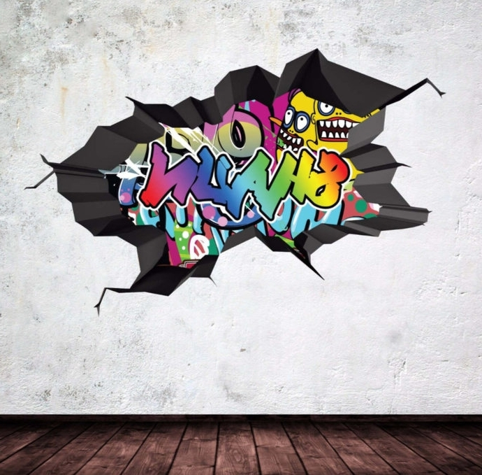 Graffiti Wall Art Stickers Regarding Famous Personalized Name Full Color Graffiti Wall Decalsmysticky On (View 13 of 15)