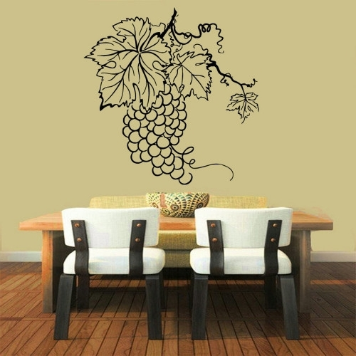 Grape Wall Art Intended For Most Popular Grapes Wall Decals Bunch Of Grapes Kitchen Wall Decor Floral (Gallery 2 of 15)