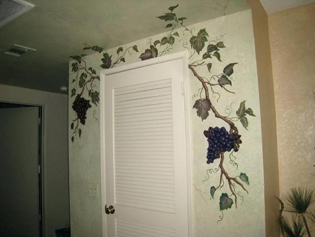 Grape Wall Art With Regard To Trendy Grape Wall Art Grapes And Grapevine Mural Traditional Kitchen Grape (View 12 of 15)