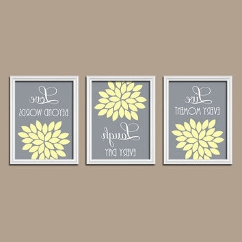 Gray And Yellow Wall Art With Regard To Newest Shop Gray And Yellow Bathroom Wall Art On Wanelo (View 5 of 15)